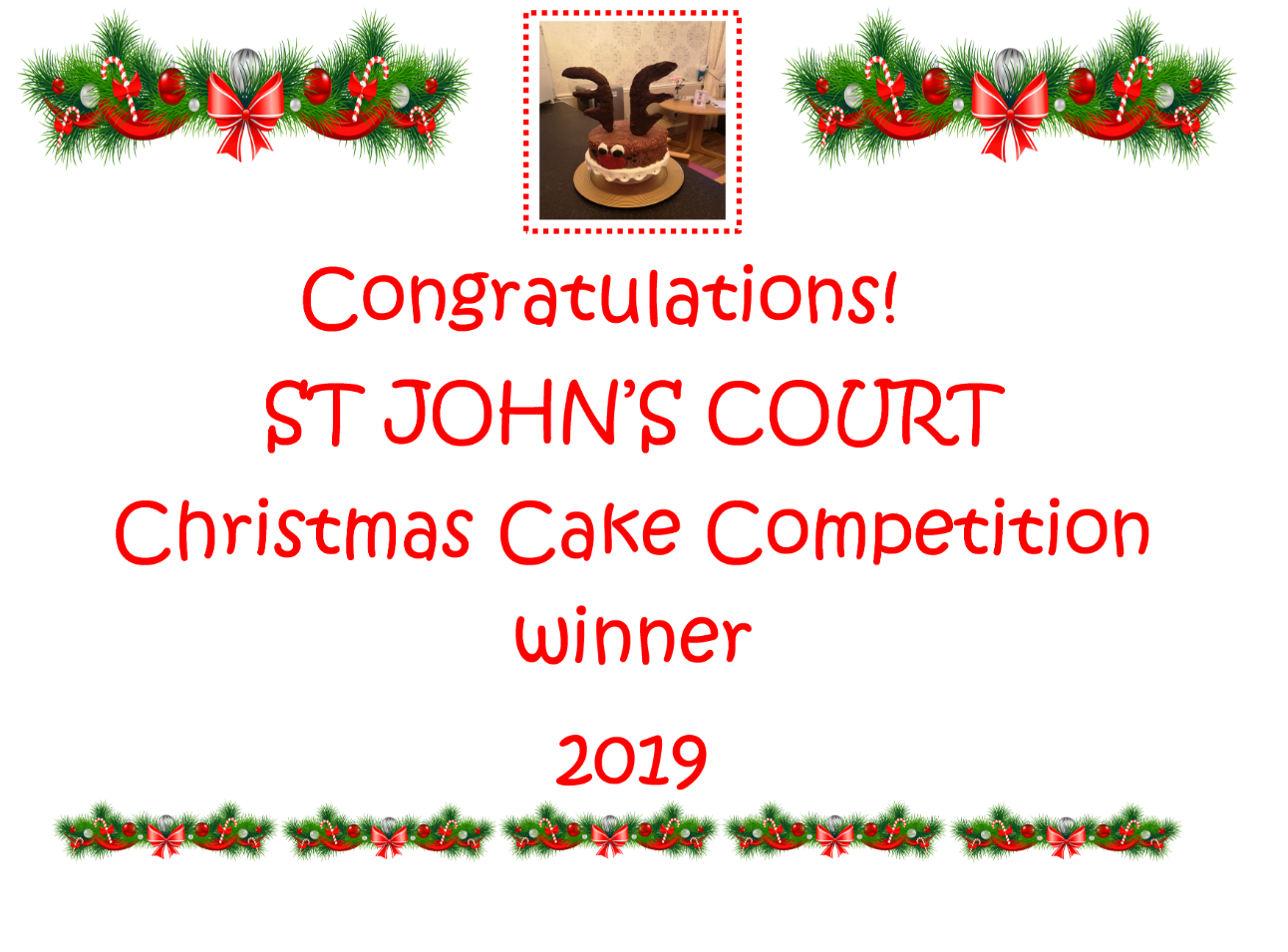 St John's Court - Winners of the Christmas Cake Competition Image